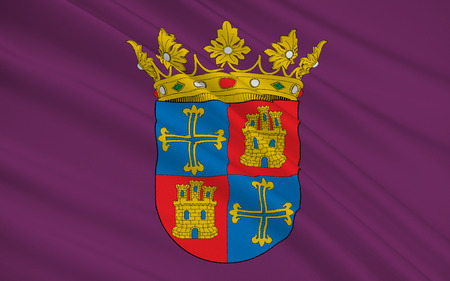 palencia province: Flag of Palencia is a city south of Tierra de Campos, in north-northwest Spain, the capital of the province of Palencia in the autonomous community of Castile and Leon. Stock Photo