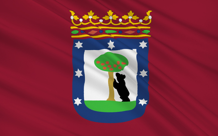 municipality: Flag of Madrid is a south-western European city, the capital of Spain, and the largest municipality of the Community of Madrid. Stock Photo
