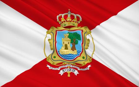 atlantic ocean: Flag of Vigo is a city on the Atlantic Ocean in the province of Pontevedra, in Galicia, north-west Spain. Stock Photo