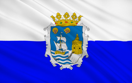 port of spain: Flag of the port city Santander is the capital of the autonomous community and historical region of Cantabria situated on the north coast of Spain. Stock Photo