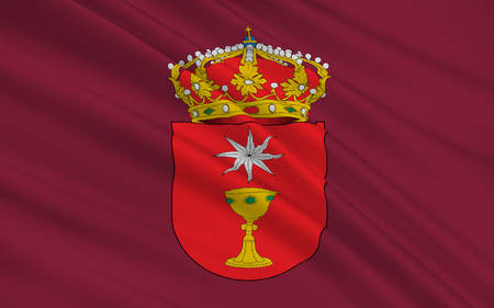 castilla: Flag of Cuenca is a city in the autonomous community of Castile�La Mancha in central Spain. It is the capital of the province of Cuenca. Stock Photo