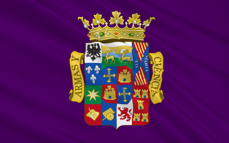 northeast: Flag of Palencia is a province of northern Spain, in the northern part of the autonomous community of Castile and Leon in the northeast of the Iberian Peninsula Stock Photo