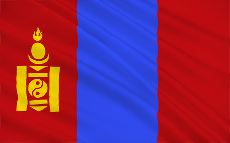 landlocked: Flag of Mongolia is a landlocked sovereign state in East Asia. Stock Photo
