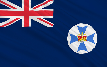 qld: Flag of Queensland (Qld) is the second-largest and third-most-populous state in Australia. Stock Photo