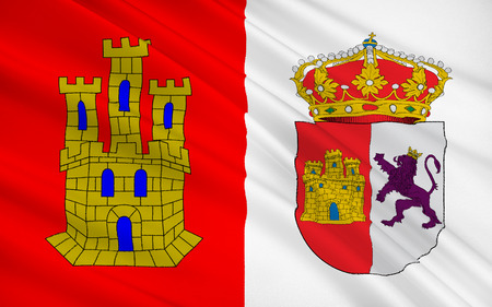 iberian: Flag of Caceres is the capital of Caceres province, in the autonomous community of Extremadura, Spain. Stock Photo