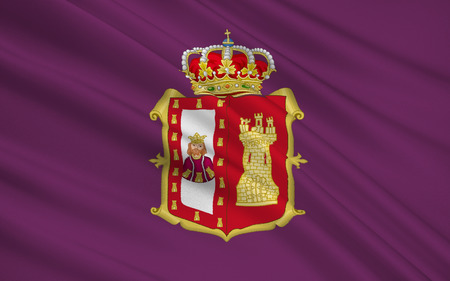 leon: Flag of Burgos is a province of northern Spain, in the northeastern part of the autonomous community of Castile and Leon Stock Photo