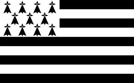 Bandiera della Bretagna è una delle 18 regioni della Francia. Il capoluogo regionale è Rennes. Archivio Fotografico