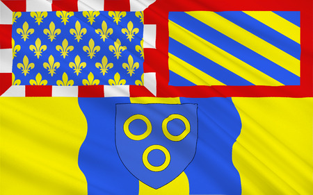commune: Flag of Chalon-sur-Saone is a commune in the Sa�ne-et-Loire department in the region of Bourgogne-Franche-Comt� in eastern France. Stock Photo