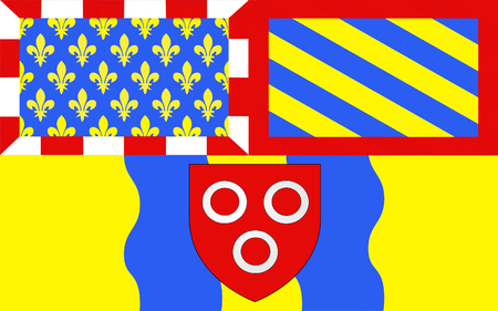 historically: Flag of Macon, historically anglicized as Mascon, is a small city in east-central France. It is the prefecture of the department of Sa?ne-et-Loire, located in Burgundy. Stock Photo
