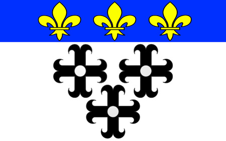 cantal: Flag of Moulins is a commune in central France, capital of the Allier department. It is located on the Allier River Stock Photo