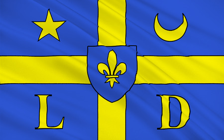 derivation: Flag of Lodeve is a commune in the Herault departement in the Languedoc-Roussillon region in southern France. It is a sub-prefecture of the department. The derivation of the city name is from Gaulish Luteva