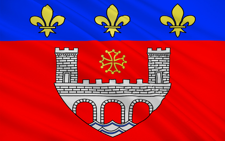 millau: Flag of Villefranche-de-Rouergue is a commune in the Aveyron department in southern France. Stock Photo