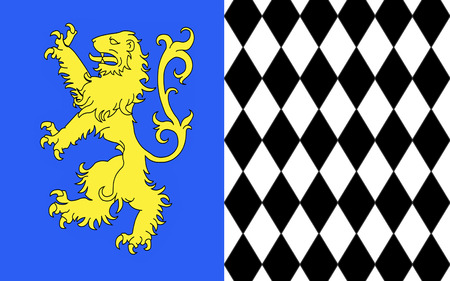 gironde: Flag of Lesparre-Medoc is a commune in the Gironde department in Aquitaine in southwestern France. It is a sub-prefecture of the department. Stock Photo
