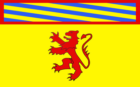burgundy colour: Flag of Autun is a commune in the Sa?ne-et-Loire department in Burgundy in eastern France. Stock Photo