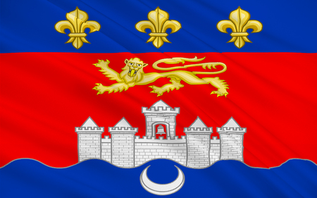 gironde department: Flag of Bordeaux is a port city on the Garonne River in the Gironde department in southwestern France. Stock Photo
