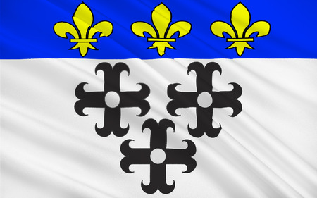 aurillac: Flag of Moulins is a commune in central France, capital of the Allier department. It is located on the Allier River Stock Photo