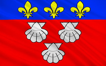 cantal: Flag of Aurillac is a French commune, capital of the Cantal department, in the Auvergne region of south-central France Stock Photo