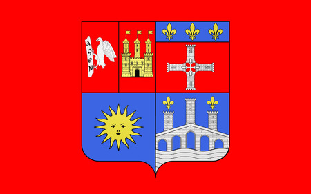 bordeaux region: Flag of Lot-et-Garonne is a department in the southwest of France named after the Lot and Garonne rivers. Stock Photo