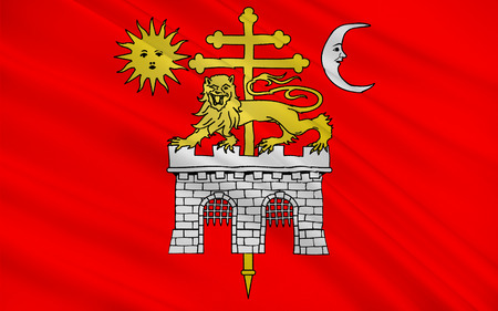 gascony: Flag of Albi is a commune in southern France. It is the prefecture of the Tarn department. Stock Photo
