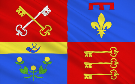 apt: Flag of Vaucluse is a department in the southeast of France, named after the famous spring, the Fontaine-de-Vaucluse Stock Photo