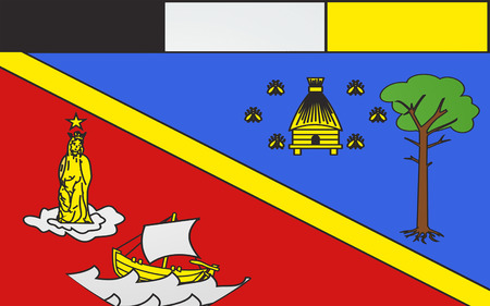 bordeaux region: Flag of Arcachon is a commune in the Gironde department in southwestern France Stock Photo