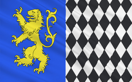 gironde department: Flag of Lesparre-Medoc is a commune in the Gironde department in Aquitaine in southwestern France. It is a sub-prefecture of the department. Stock Photo