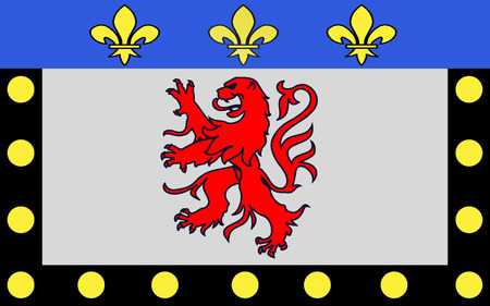 commune: Flag of Poitiers is a city on the Clain river in west-central France. It is a commune and the capital of the Vienne department and also of the Poitou-Charentes region Stock Photo