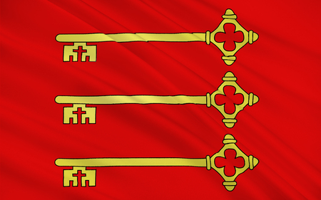 apt: Flag of Avignon is a commune in south-eastern France in the department of Vaucluse on the left bank of the Rhone river Stock Photo