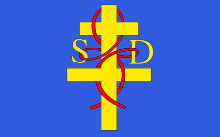 referred: Flag of Saint-Die-des-Vosges commonly referred to as Saint-Die, is a commune in the Vosges department in Lorraine in northeastern France. Stock Photo