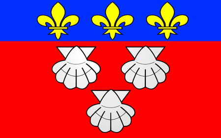 aurillac: Flag of Aurillac is a French commune, capital of the Cantal department, in the Auvergne region of south-central France Stock Photo
