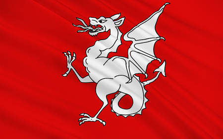 toulon: Flag of Draguignan is a commune in the Var department in the Provence-Alpes-Cote Azur region, in southeastern France. Stock Photo