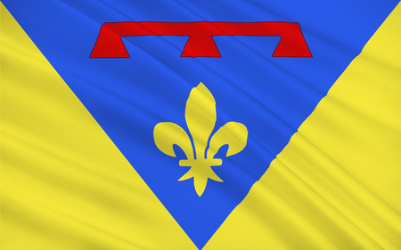 azur: Flag of Var is a department in the Provence-Alpes-Cote Azur region in Provence in southeastern France Stock Photo