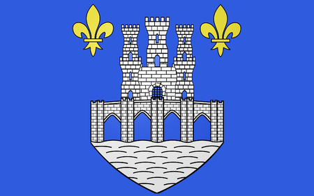 pontoise: Flag of Pontoise is a commune in the northwestern suburbs of Paris, France Stock Photo