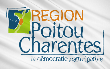 relevant: Flag of Poitou - Charentes - region in western France, the relevant historical region of Poitou. The main town - Poitiers.