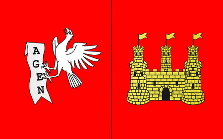 landes: Flag of commune of Agen is the prefecture of the Lot-et-Garonne department in Aquitaine in southwestern France
