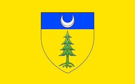 commune: Flag of Saint-Claude is a commune in the Jura department in the Bourgogne-Franche-Comte region in eastern France. Stock Photo