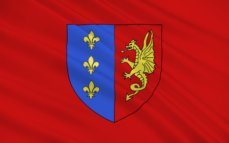 department: Flag of Bergerac is a commune and a sub-prefecture of the Dordogne department in southwestern France. Stock Photo