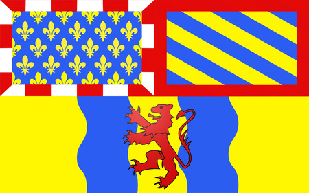 burgundy: Flag of Autun is a commune in the Sa?ne-et-Loire department in Burgundy in eastern France. Stock Photo