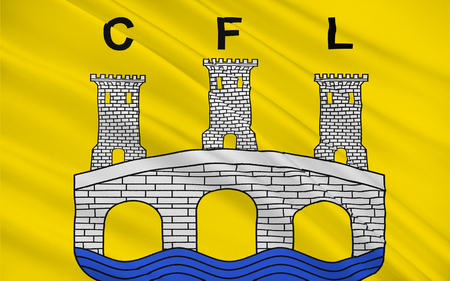 commune: Flag of Confolens is a commune in southwestern France. It is one of the two sub-prefectures of the Charente department. Stock Photo