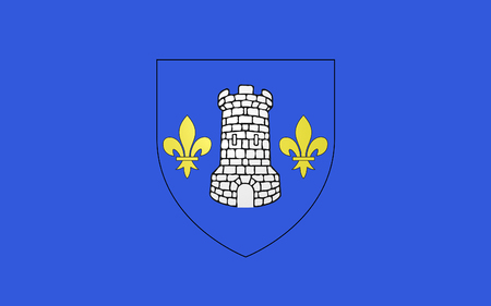 commune: Flag of Nontron is a commune in the Dordogne department in Aquitaine in southwestern France. Stock Photo