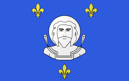 commune: Flag of Saint-Quentin is a commune in the Aisne department in Picardy in northern France. Stock Photo