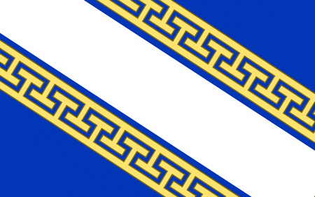 bordering: Flag of Champagne-Ardenne is a former administrative region of France, located in the northeast of the country, bordering Belgium. Stock Photo