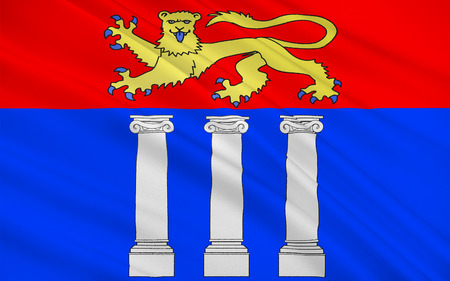 manche: Flag of Coutances is a commune in the Manche department in Normandy in north-western France. Stock Photo