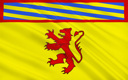 commune: Flag of Autun is a commune in the Sa?ne-et-Loire department in Burgundy in eastern France. Stock Photo