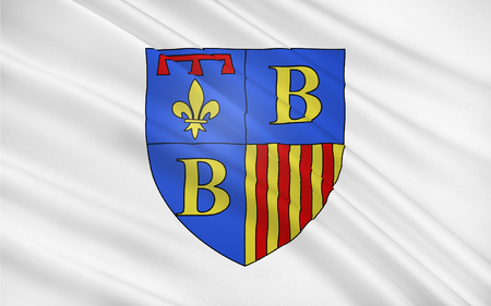 azur: Flag of Brignoles is a commune in the Var d�partement in the Provence-Alpes-Cote Azur region in southern France. It is a sub-prefecture of the department. Stock Photo