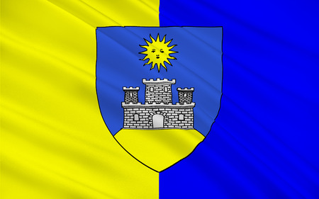 cantal: Flag of Montlucon is a commune in central France on the Cher river. It is the largest commune in the Allier department, although the department prefecture is located in the smaller town of Moulins. Stock Photo