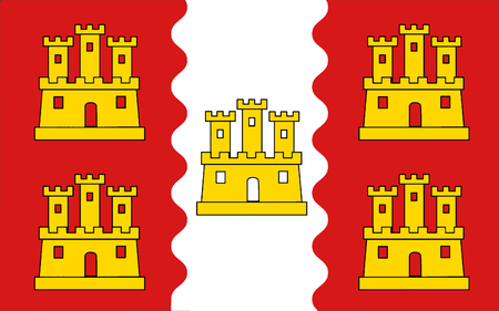 named: Flag of Vienne is a department in the Poitou-Charentes region of France named after the river Vienne. Stock Photo