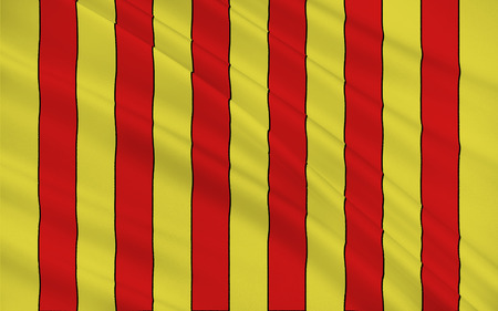gironde department: Flag of Langon is a commune in the Gironde department in Aquitaine in southwestern France Stock Photo