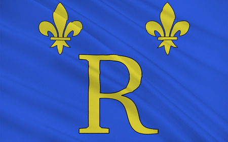 cantal: Flag of Riom is a commune in the Puy-de-Dome department in Auvergne in central France. It is a sub-prefecture of the department. Stock Photo