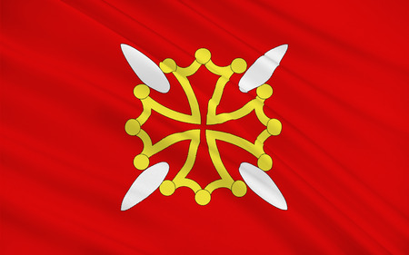 millau: Flag of Upper Garonne is a department in the southwest of France named after the Garonne river. Its main city and capital is Toulouse. Stock Photo